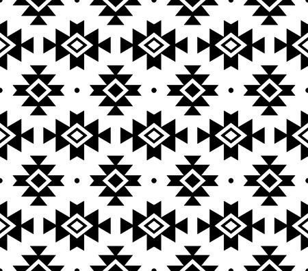 Tribal pattern, Aztec seamless background, Navajo vector design in black pattern on white