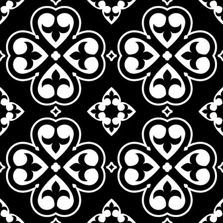 Spanish tiles pattern, Moroccan or Portuguese tile seamless design in black and white - Azulejo