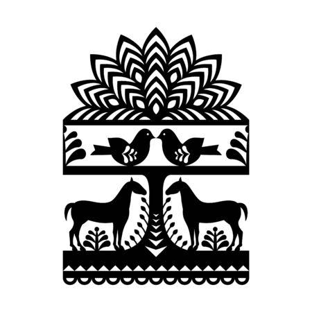 traditional culture: Seamless Polish folk art black pattern Illustration