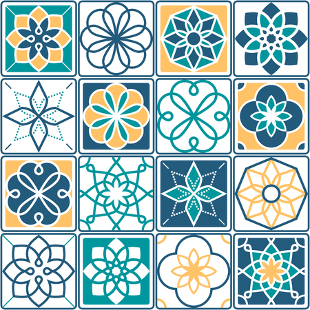 repetition: Portuguese tiles pattern - Azulejo, seamless geometric design collection in yellow and turquoise Illustration