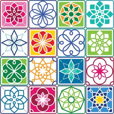 Portugiesisches Fliesenmuster - Azulejo, buntes Set des nahtlosen geometrischen Designs