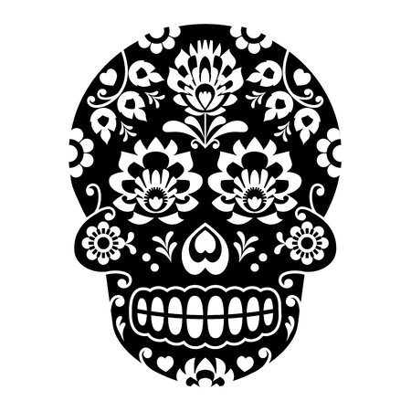 Mexican sugar skull, Halloween skull with flowers - Polish folk art Wycinanki style Illustration