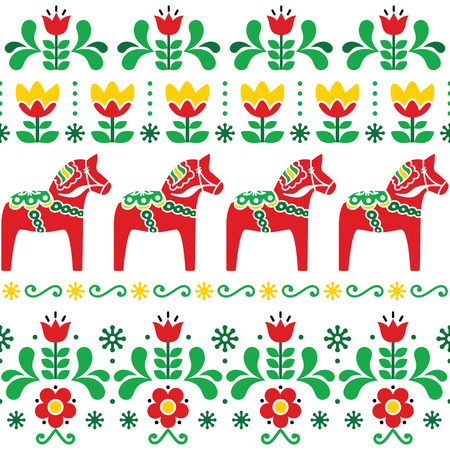 Swedish Dala horse pattern, Scandinavian seamless folk art design with flowers