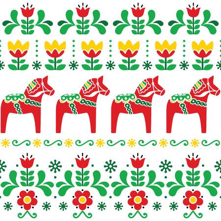 Modello svedese del cavallo di Dala, progettazione di arte popolare senza cuciture scandinava con i fiori