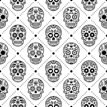 Halloween seamless pattern, Mexican sugar skull vector design, Dia de los Muertos, Calavera background