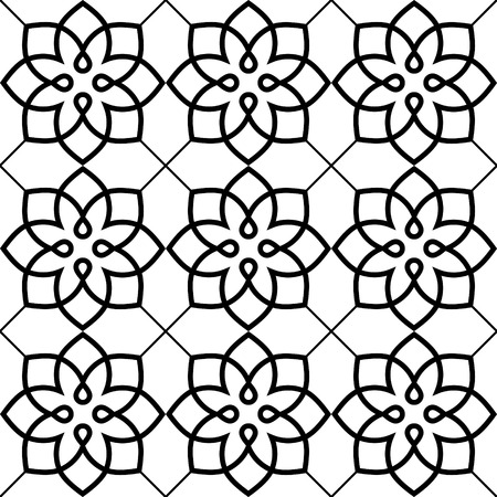 repetition: Geometric seamless pattern, Arabic ornament style, tiled design in black