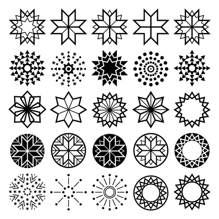 xmas background: Geometric star shapes collection, lineart abstract stars icons set