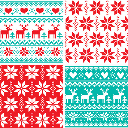 humor: Winter pattern set, Christmas seamless design collection, ugly Xmas jumper style