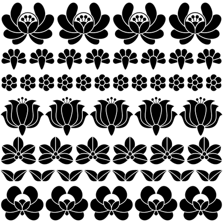 vintage background: A seamless Hungarian black folk art pattern - floral Kalocsai embroidery.