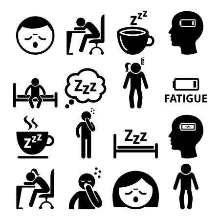 Aflopende, pictogrammen van zieke mensen die op wit worden geïsoleerd