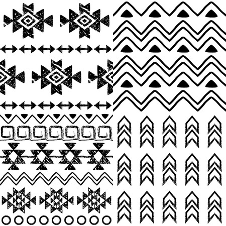 Tribal pattern collection, Aztec background set, Navajo design in black pattern on white  イラスト・ベクター素材