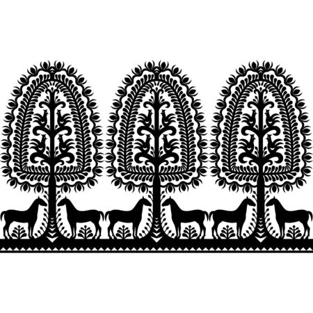 repetition: Seamless Polish folk art black pattern Illustration