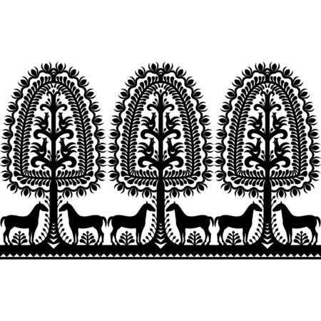 Seamless Polish folk art black pattern Illustration