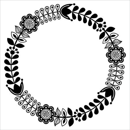 Finnish floral folk art round pattern - black design, Nordic, Scandinavian style