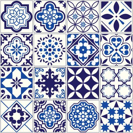 벡터 타일 패턴, 리스본 꽃 모자이크, 지중해 원활한 해군 파란색 장식