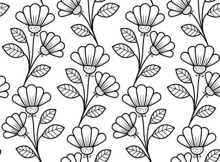 vintage background: Botanical seamless pattern, hand-drawn vector flowers in black and white