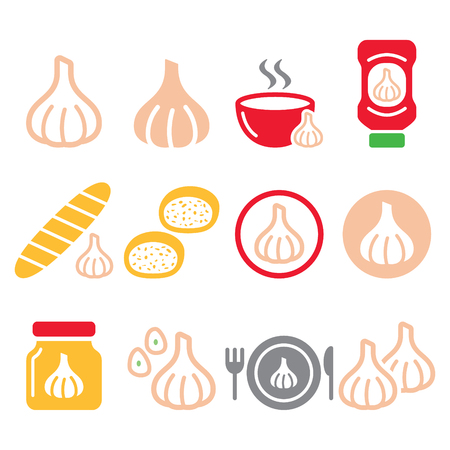 Garlic, food icons set - garlic sauce, soup and bread vector designs