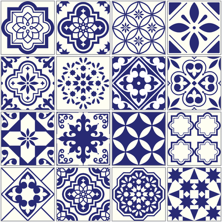 Seamless tiles pattern, Mediterranean floral mosaic set, Lisbon seamless navy blue ornament  イラスト・ベクター素材