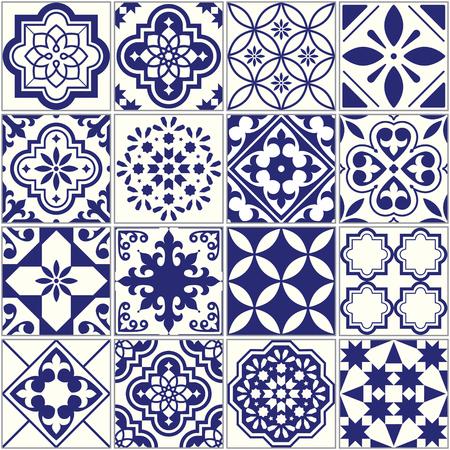 Seamless tiles pattern, Mediterranean floral mosaic set, Lisbon seamless navy blue ornament Ilustração