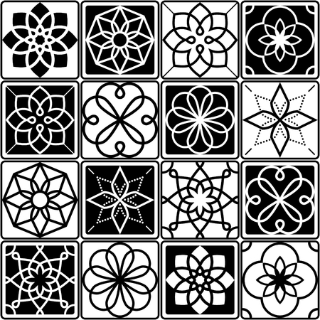 Portuguese Azulejo tiles design, seamless geometric patterns collection in black and white Illustration