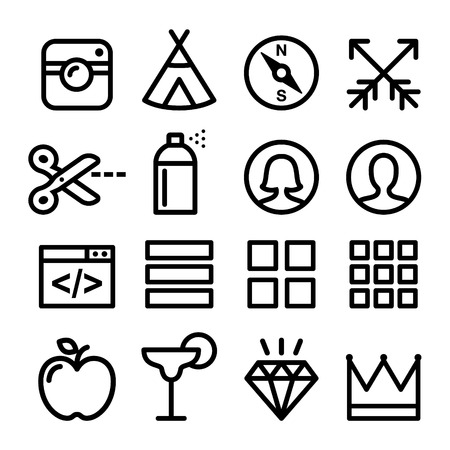 paint can: Web line icons, Website navigation flat design icon collection - users, blog, store Illustration
