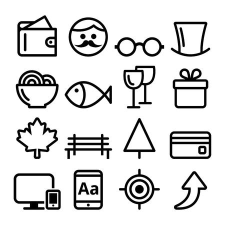 Web line icon set, Website navigation flat design icon collection - online shop, park, gentleman