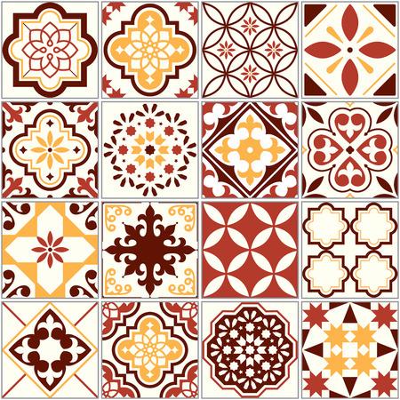 Azulejos vector portugueses, patrón de arte de Lisboa, Mediterráneo ornamento transparente en marrón y amarillo