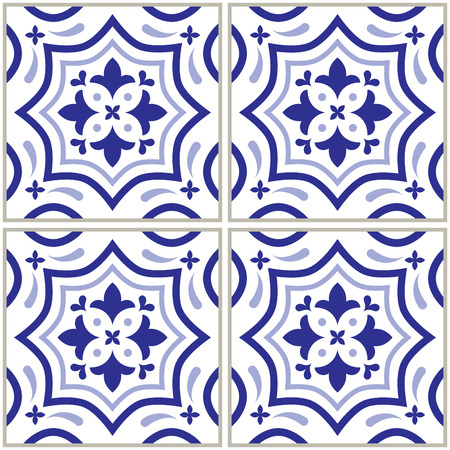 Azulejo - Portuguese tile design, seamless vector blue pattern, retro mosaics set