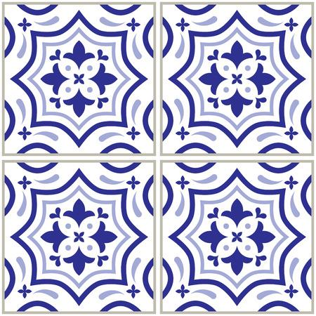 Azulejo - Portuguese tile design, seamless vector blue pattern, retro mosaics set