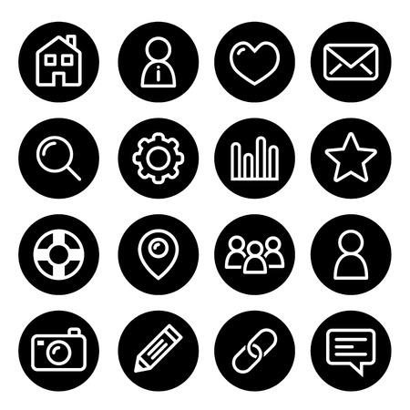 feedback link: Website menu navigation round line icons - home, search, email, gallery, blog Illustration