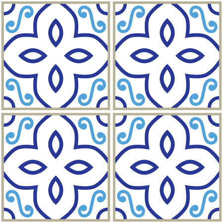 interior decoration: Tiles pattern, Spanish or Portuguese tile blue background, Geometric designs