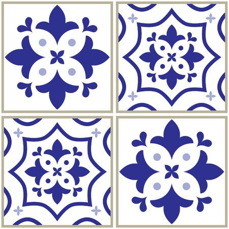 navy blue background: Tiles pattern, Spanish or Portuguese tile blue background, Geometric designs