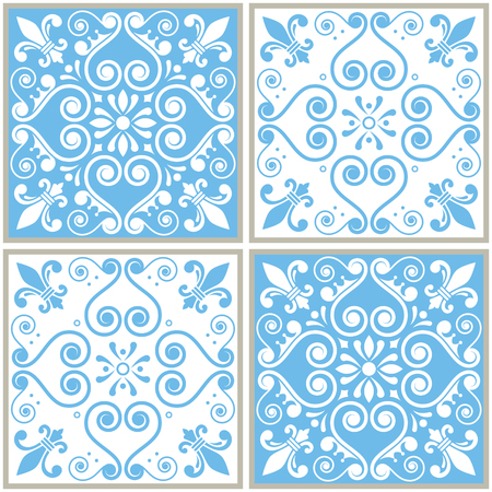 Tiles seamless collection, Portuguese or Spanish vector tile design Illustration