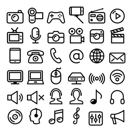 mobile app: Communication, Media, modern technology web line icon set - big pack