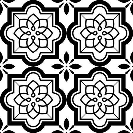 tile pattern: Vector tiles pattern, Lisbon floral mosaic set, Mediterranean seamless black and white ornament
