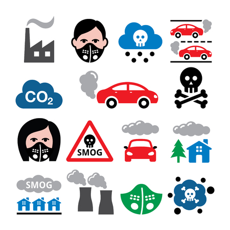 polluted: Smog, pollution, anti pollsution mask vector icons set - ecology, environment concept