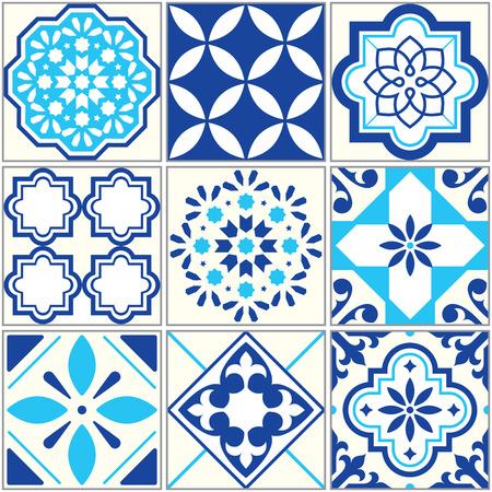 tile: Lisbon floral mosaic Mediterranean ornament. Illustration