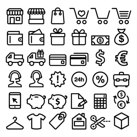 delivery service: Shopping line icons set, buying online, store minimalist symbols - big pack