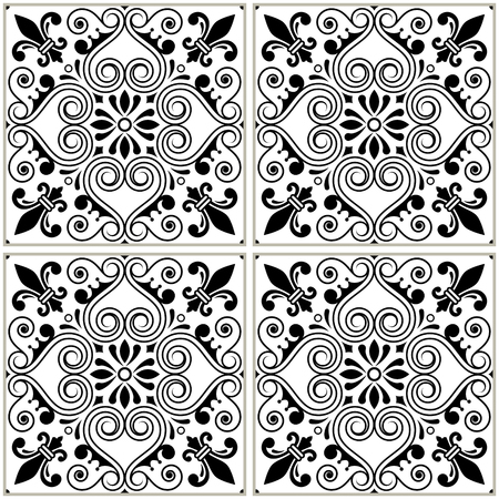 texture: Portuguese tiles pattern - Azulejo black and white design, seamless vector blue background, vintage mosaics set