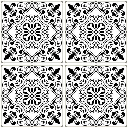 textured: Portuguese tiles pattern - Azulejo black and white design, seamless vector blue background, vintage mosaics set