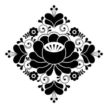 repetitive: Russian folk design - floral pattern, black and white square composition Illustration