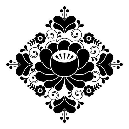 Russian folk design - floral pattern, black and white square composition Illustration