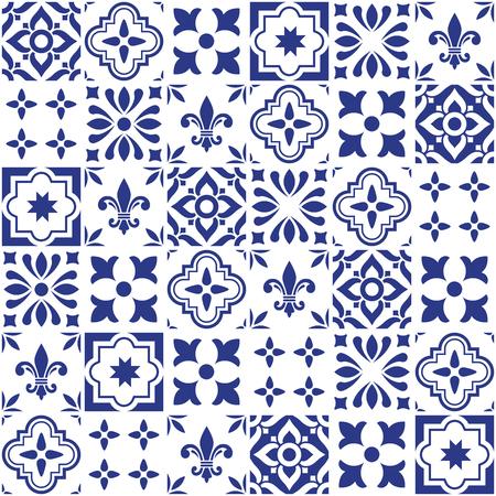 Conception géométrique de carreaux vectoriels, carreaux bleus en mosaïque portugaise ou à épiler, motif Azulejos