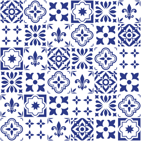 Geometric vector tile design, Portuguese or Sputch seamless blue tiles, Azulejos pattern