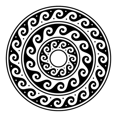 Greek vector mandala, Ancient round meander art in circle isolated on white Stock Illustratie