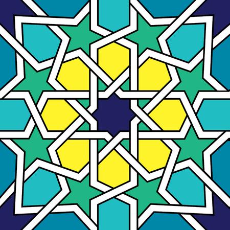 yellow: Moroccan tile design, Moorish seamless vector pattern, Geometric abstract tiles