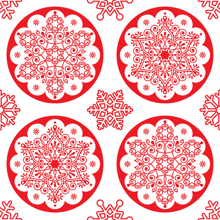 Christmas vector folk pattern - red snowflake mandala seamless pattern, Scandinavian style Xmas wallpaper, wrapping paper or textile