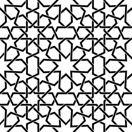 Modèle vectoriel carreaux marocains, modèle sans couture mauresque en noir, carreaux abstraits géométriques. Banque d'images - 85129362