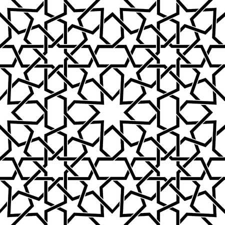 Moroccan tiles vector pattern, Moorish seamless pattern in black, Geometric abstract tiles. Ilustração