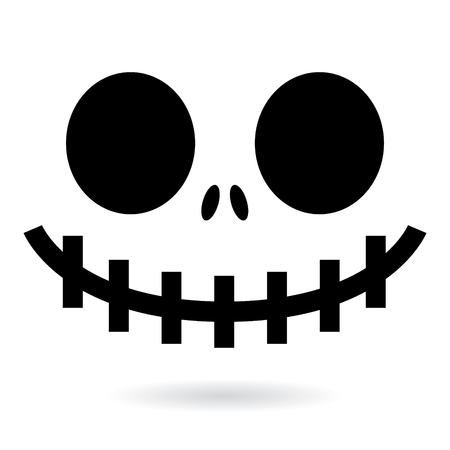 Scary Halloween ghost or pumpkin face vector design, monster mouth icon with spooky eyes, nose and big teeth.